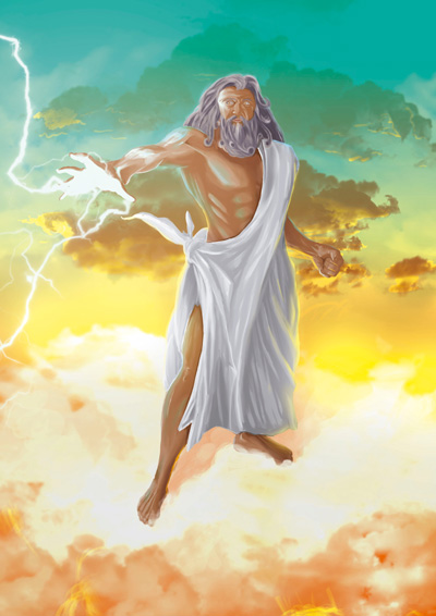 God Zeus character Illustration for a phisical card game